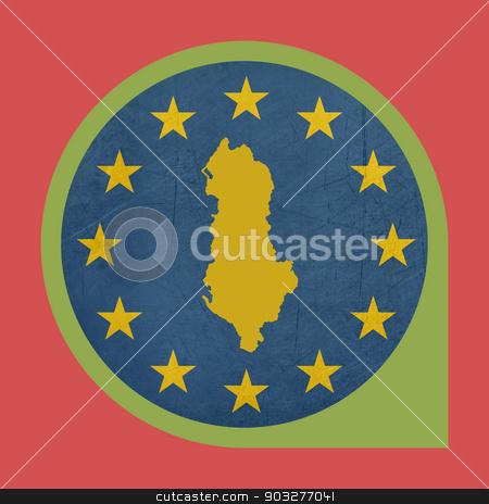 European Union Albania marker pin stock photo, European Union Albania marker pin isolated on white background. by Martin Crowdy