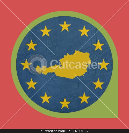 European Union Austria marker pin stock photo, European Union Austria marker pin isolated on white background. by Martin Crowdy