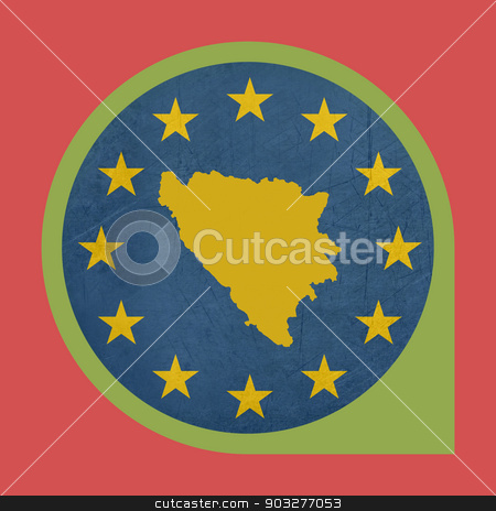 European Union Bosnia and Herzegovina marker pin stock photo, European Union Bosnia and Herzegovina marker pin isolated on white background. by Martin Crowdy