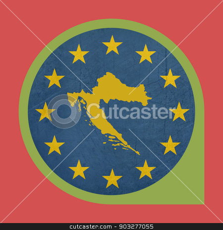 European Union Croatia marker button stock photo, European Union Croatia button isolated on white background. by Martin Crowdy