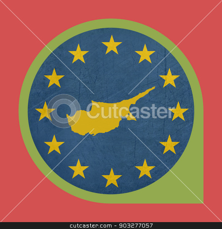 European Union Cyprus marker button stock photo, European Union Cyprus button isolated on white background. by Martin Crowdy
