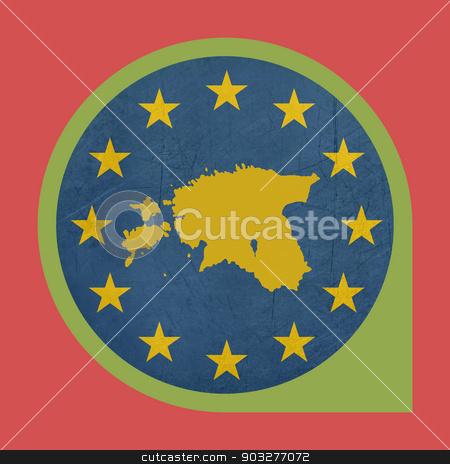 European Union Estonia marker pin button stock photo, European Union Estonia marker pin button isolated on white background. by Martin Crowdy