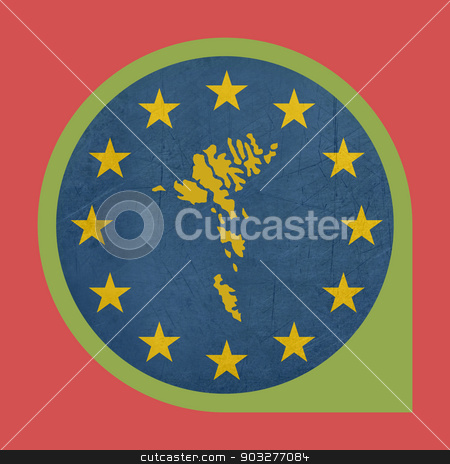 European Union Faroe Islands marker button stock photo, European Union Faroe Islands marker button isolated on white background. by Martin Crowdy