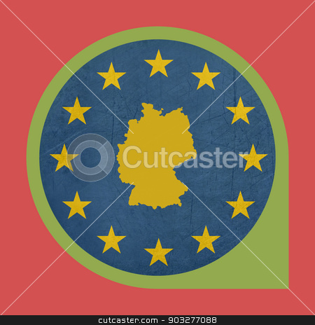 European Union Germany marker pin button stock photo, European Union Germany marker pin button isolated on white background. by Martin Crowdy