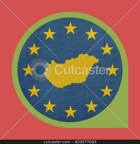 European Union Hungary marker button stock photo, European Union Hungary marker button isolated on white background. by Martin Crowdy