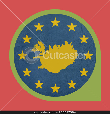European Union Iceland marker button stock photo, European Union Iceland marker button isolated on white background. by Martin Crowdy