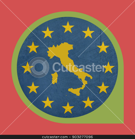 European Union Italy marker button stock photo, European Union Italy marker button isolated on white background. by Martin Crowdy