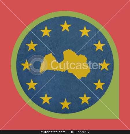European Union Latvia marker button stock photo, European Union Latvia marker button isolated on white background. by Martin Crowdy