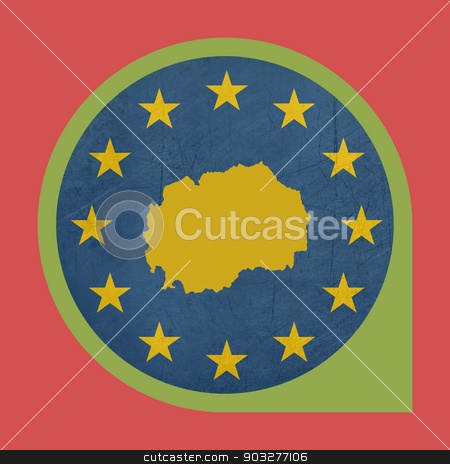 European Union Macedonia marker button stock photo, European Union Macedonia marker button isolated on white background. by Martin Crowdy