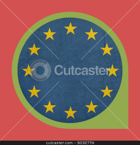 European Union marker button stock photo, European Union button isolated on white background. by Martin Crowdy