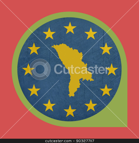 European Union Moldova marker button stock photo, European Union Moldova marker button isolated on white background. by Martin Crowdy