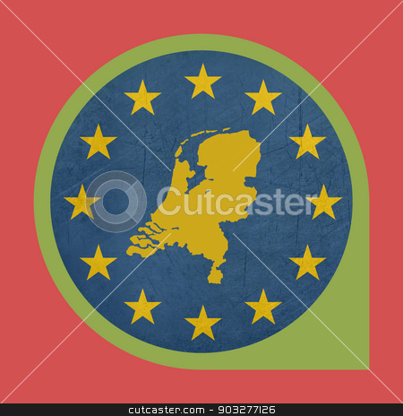 European Union Netherlands marker button stock photo, European Union Netherlands marker button isolated on white background. by Martin Crowdy