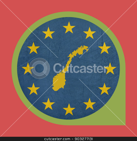 European Union Norway marker button stock photo, European Union Norway marker button isolated on white background. by Martin Crowdy