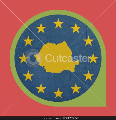 European Union Romania marker button stock photo, European Union Romania marker button isolated on white background. by Martin Crowdy