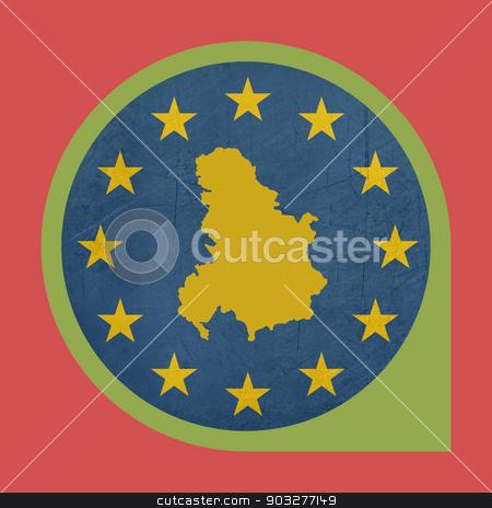 European Union Serbia and Montenegro marker button stock photo, European Union Serbia and Montenegro marker button isolated on white background. by Martin Crowdy