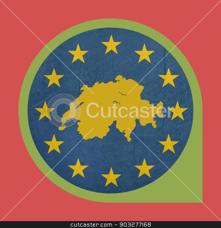 European Union Switzerland pin marker button stock photo, European Union Switzerland button isolated on white background. by Martin Crowdy