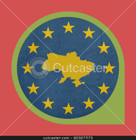 European Union Ukraine marker button stock photo, European Union Ukraine button isolated on white background. by Martin Crowdy