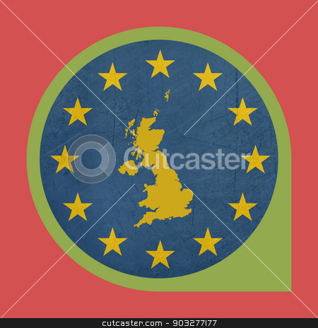 European Union United Kingdom marker pin stock photo, European Union United Kingdom button isolated on white background. by Martin Crowdy