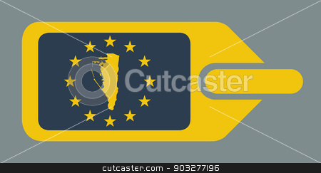 Gibraltar European luggage label stock photo, Gibraltar European travel luggage label or tag in flat web design colors. by Martin Crowdy