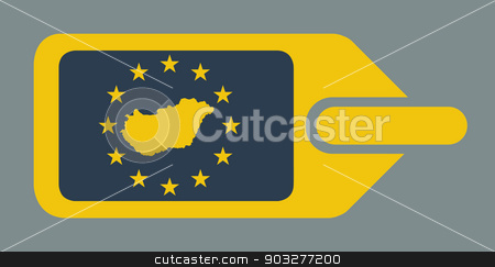 Hungary European luggage label stock photo, Hungary European travel luggage label or tag in flat web design colors. by Martin Crowdy
