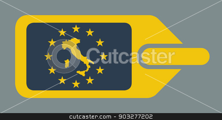 Italy European luggage label stock photo, Italy European travel luggage label or tag in flat web design colors. by Martin Crowdy