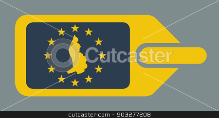 Liechtenstein European luggage label stock photo, Liechtenstein European travel luggage label or tag in flat web design colors. by Martin Crowdy