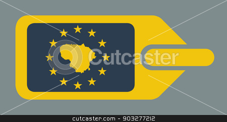 Lithuania European luggage label stock photo, Lithuania European travel luggage label or tag in flat web design colors. by Martin Crowdy