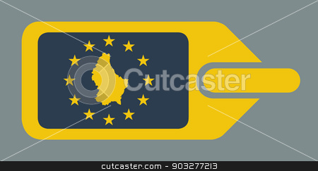 Luxembourg European luggage label stock photo, Luxembourg European travel luggage label or tag in flat web design colors. by Martin Crowdy