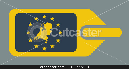 Netherlands European luggage label stock photo, Netherlands European travel luggage label or tag in flat web design colors. by Martin Crowdy