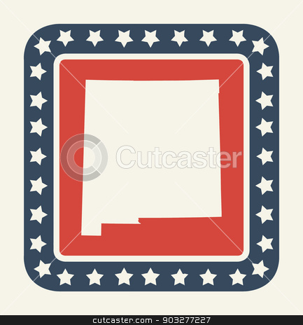 New Mexico American state button stock photo, New Mexico state button on American flag in flat web design style, isolated on white background. by Martin Crowdy