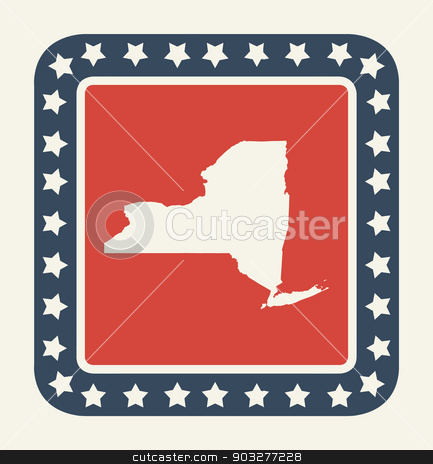 New York American state button stock photo, New York state button on American flag in flat web design style, isolated on white background. by Martin Crowdy