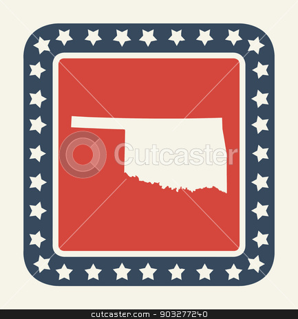 Oklahoma American state button stock photo, Oklahoma state button on American flag in flat web design style, isolated on white background. by Martin Crowdy