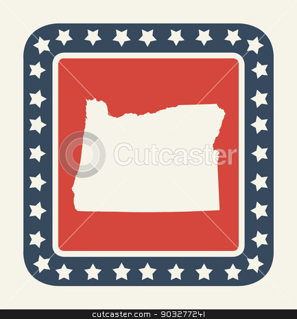 Oregon American state button stock photo, Oregon state button on American flag in flat web design style, isolated on white background. by Martin Crowdy