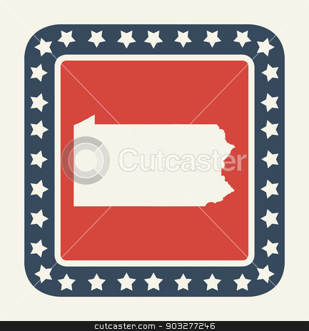 Pennsylvania American state button stock photo, Pennsylvania state button on American flag in flat web design style, isolated on white background. by Martin Crowdy