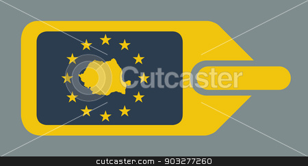Romania European luggage label stock photo, Romania European travel luggage label or tag in flat web design colors. by Martin Crowdy