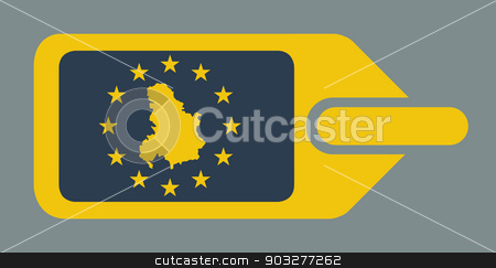 Serbia and Montenegro European luggage label stock photo, Serbia and Montenegro European travel luggage label or tag in flat web design colors. by Martin Crowdy