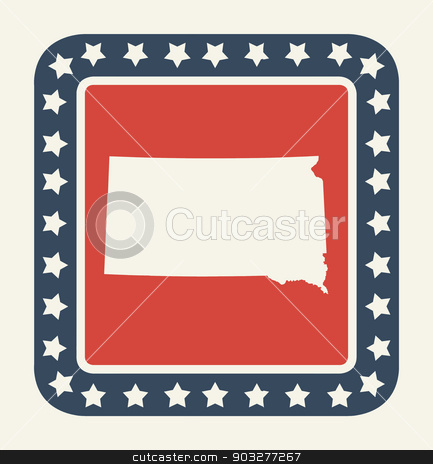 South Dakota American state button stock photo, South Dakota state button on American flag in flat web design style, isolated on white background. by Martin Crowdy