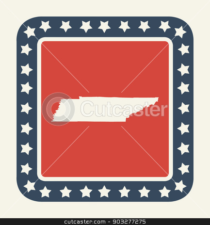 Tennessee American state button stock photo, Tennessee state button on American flag in flat web design style, isolated on white background. by Martin Crowdy