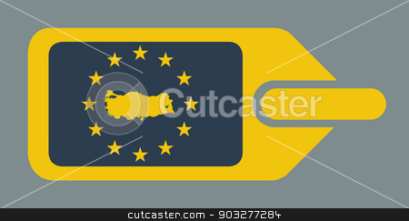 Turkey European luggage label stock photo, Turkey European travel luggage label or tag in flat web design colors. by Martin Crowdy