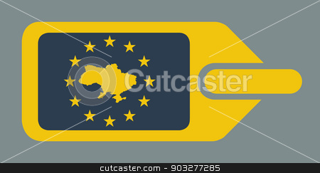 Ukraine European luggage label stock photo, Ukraine European luggage label or tag in flat web design colors. by Martin Crowdy