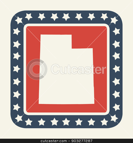 Utah American state button stock photo, Utah state button on American flag in flat web design style, isolated on white background. by Martin Crowdy