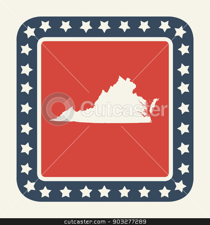 Virginia American state button stock photo, Virginia state button on American flag in flat web design style, isolated on white background. by Martin Crowdy