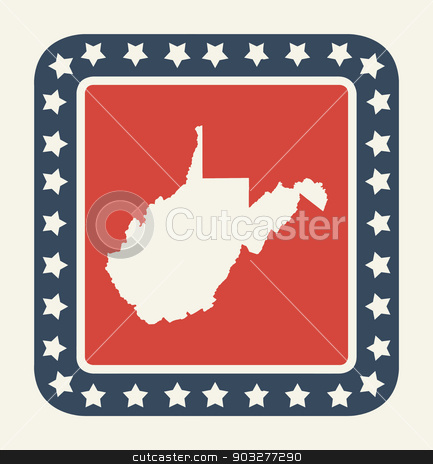 West Virginia American state button stock photo, West Virginia state button on American flag in flat web design style, isolated on white background. by Martin Crowdy