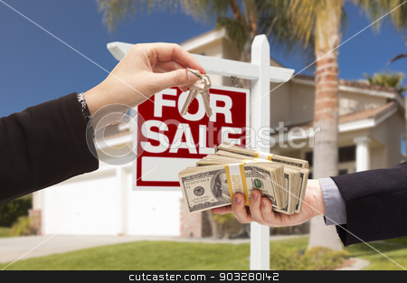 Agent Handing Over Keys, Buyer Handing Over Cash for House stock photo, Agent Handing Over Keys as Buyer is Handing Over Cash for House with Home and For Sale Real Estate Sign Behind. by Andy Dean