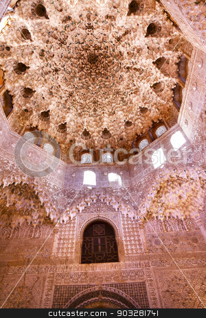 Round Shaped Domed Ceiling Alhambra Arch Moorish Wall Designs Gr stock photo, Round Shaped Domed Ceiling Arch Alhambra Moorish Wall Windows Patterns Designs Granada Andalusia Spain   by William Perry