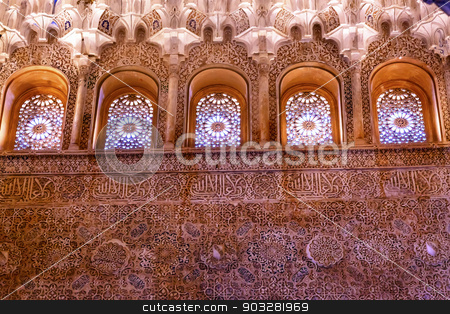 Windows Moorish Wall Designs Sala de Albencerrajes Alhambra Gran stock photo, Windows Moorish Wall Designs Sala de Albencerrajes Alhambra Moorish Wall Patterns Designs Granada Andalusia Spain   by William Perry