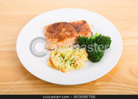 Baked Salmon with Broccoli and Rice Pilaf stock photo, Baked Salmon Fillet with Steamed Broccoli and Rice Pilaf by Darryl Brooks