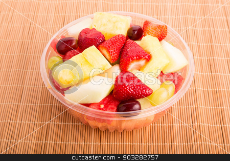 Cut Fruit in Clear Bowl stock photo, A plastic bowl of fresh cut fruit by Darryl Brooks