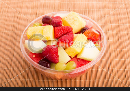 Clear Bowl of Cut Fruit stock photo, A plastic bowl of fresh cut fruit by Darryl Brooks