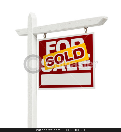 Sold For Sale Real Estate Sign with Clipping Path stock photo, Right Facing Sold For Sale Real Estate Sign with Clipping Path Isolated on White. by Andy Dean